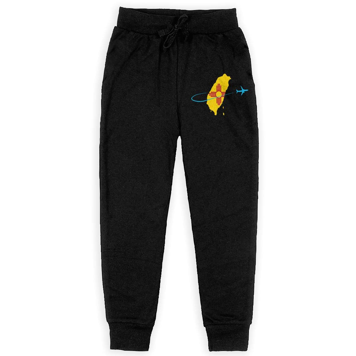WYZVK22 New Mexico Flag with Plane Soft//Cozy Sweatpants Boys Active Pants for Teen Girls