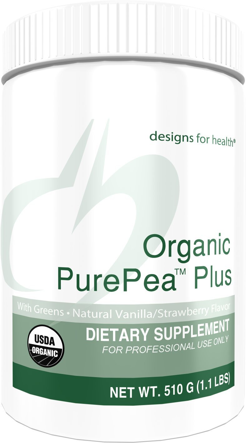 Designs for Health Organic PurePea Plus - Vanilla-Strawberry Pea Protein Powder with Greens, 18 Grams Vegan Protein + Alkalizing Vegetables, Organic + Non-GMO (15 Servings, 510 Grams)
