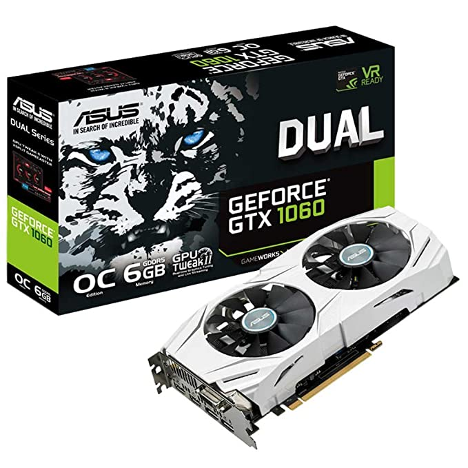 new style 6930c 2bf93 ASUS GeForce DUAL-GTX1060-O6G 6 GB Graphics Card - Silver  ASUS   Amazon.co.uk  Computers   Accessories