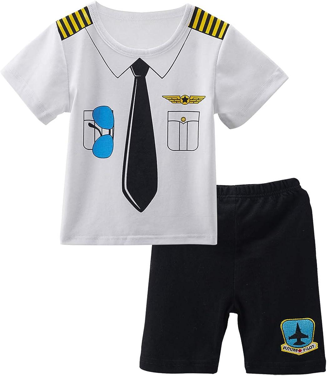 MOMBEBE COSLAND Baby Jungen Pilot Kost/üm Strampler mit Hut