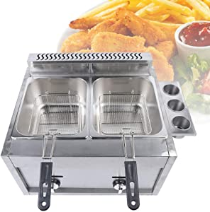 12L Commercial LPG Gas Deep Fryer Countertop French Fries Fryer Oil Fryers with Baskets and Lids Stainless Steel, Double Countertop Oil Fryer for French Fries Fish Restaurant Home Kitchen