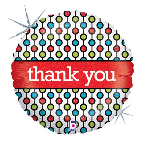Std Thank You Beads Holographic Balloon 5 pack (Bead Std)