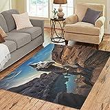 InterestPrint Mountain Rock with Dinosaur Area Rug 7 x 5 Feet, Animal Jurassic Dinosaur Modern Carpet Floor Rugs Mat for Children Kids Home Living Dining Room Decoration For Sale
