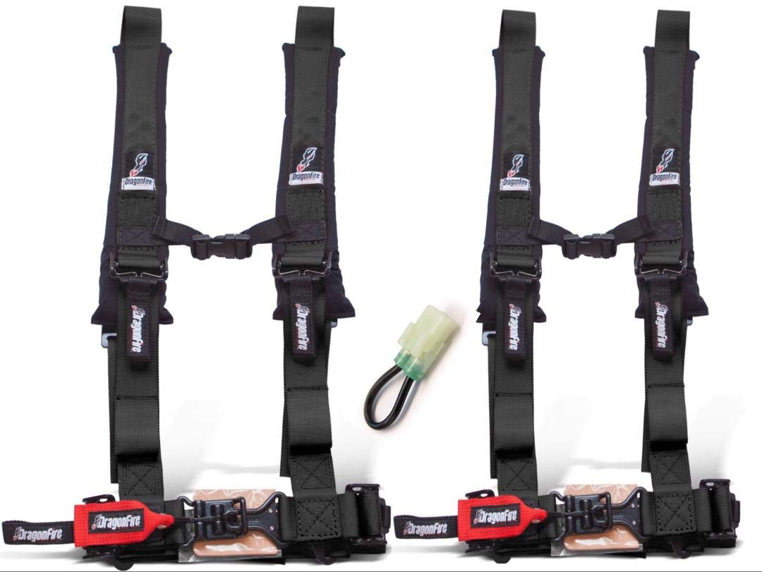 Set of 2 Dragonfire Racing 4-Point Harness 2'' Harness W override bypass connector For 2019 + Honda Talon With Harness Override Plug(Must Have or computer will limit speed to 15mph) (Black) by RAD Parts