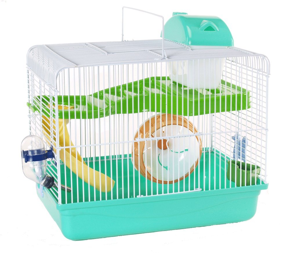Cagemart Hamster Gerbil Mice 2 Level Play House Cage Wheel Slide