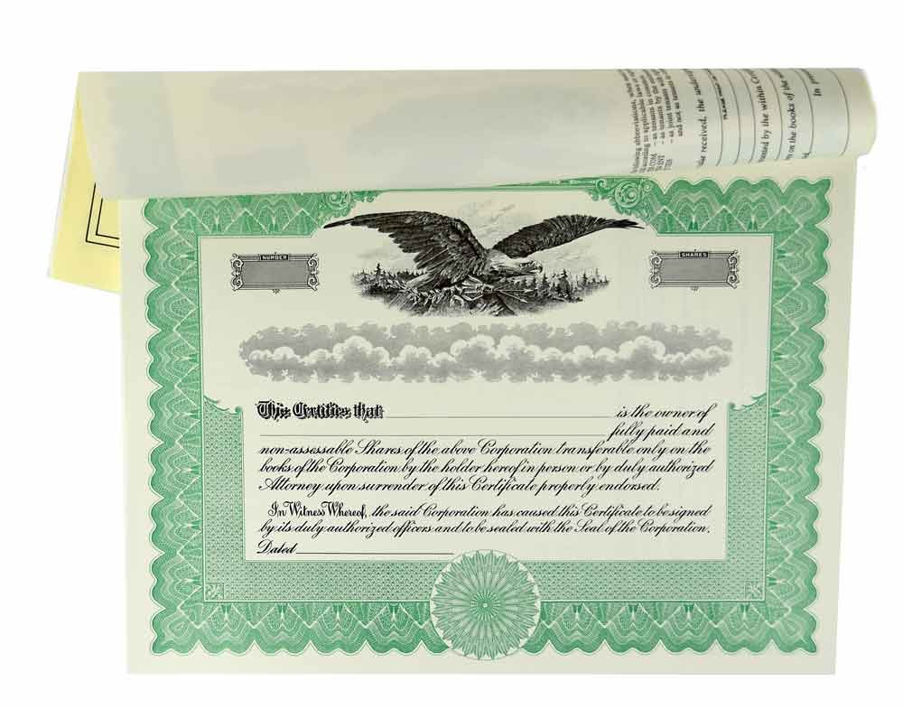 Blank Stock Certificates with Stubs for Corporation