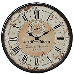 Deco 79 32 Round Rustic Black Iron & Wood Antique Roman Numeral Wall Clock
