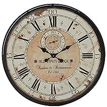 "Deco 79 32"" Round Rustic Black Iron & Wood Antique Roman Numeral Wall Clock"