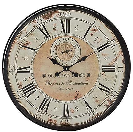 Deco 79 32quot Round Rustic Black Iron Wood Antique Roman Numeral Wall Clock