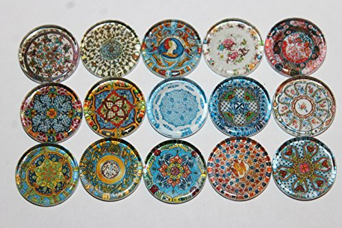 Designer Refrigerator Magnets - Majolica China Plates, Fine China Patterns Set 2 ()