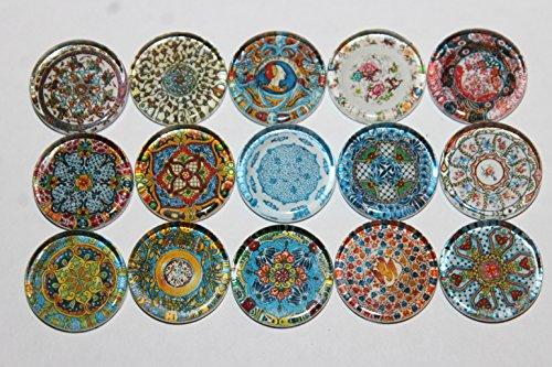 Designer Refrigerator Magnets - Majolica China Plates, Fine China Patterns Set 2