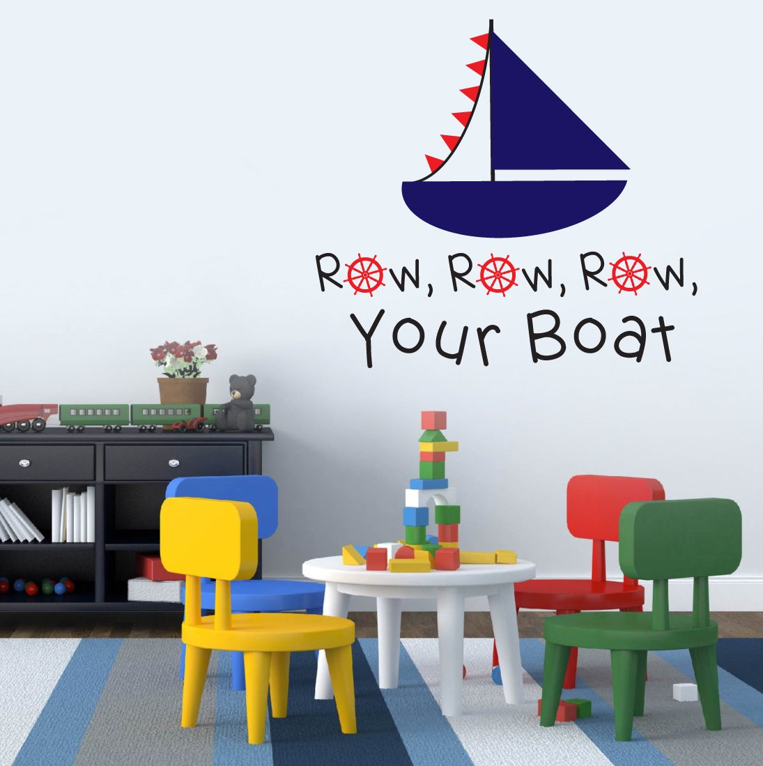 Row Row Row Your Boat Nautical Theme Sailor Childrenu0027s Room Kids Room Baby  Nursery Playroom Wall Sticker Decal Mural Vinyl Transfer Wall Art:  Amazon.co.uk: ...