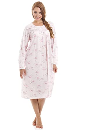 0bc82eee0a6c Camille Womens Classic Style Long Sleeve Floral Print Pink Nightdress:  Amazon.co.uk: Clothing
