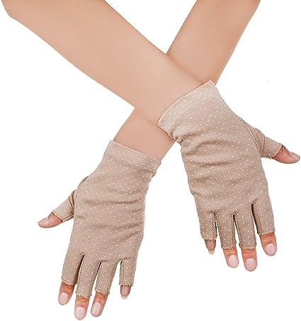 Breathable Cool Fingerless Gloves UV Lightweight Cute Fingerless Gloves Evening Fingerless Gloves Beige