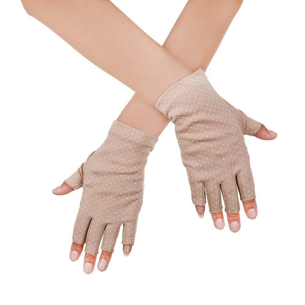 JISEN Women Sunscreen Fingerless Gloves UV Protection Driving Fishing Cotton Mittens Dots Khaki CMG00791