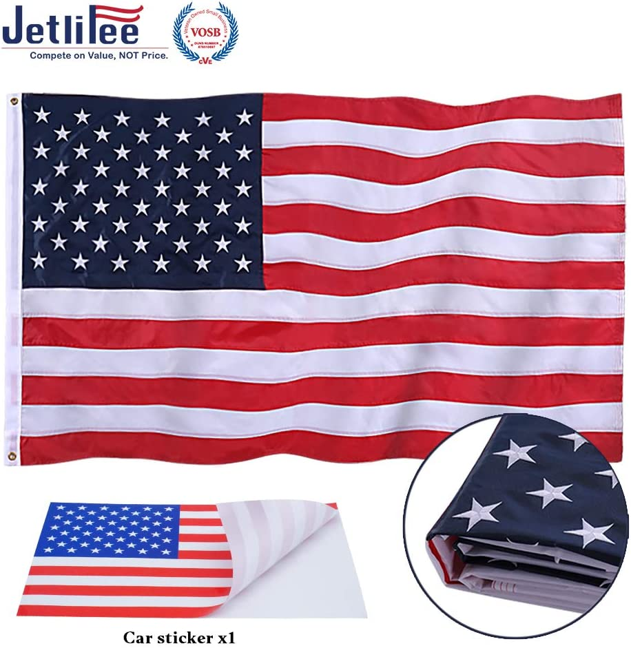 Jetlifee American Flag 4x6 Ft Embroidered Stars, Sewn Stripes, Brass Grommets US Flag.Outdoors Indoors USA Flags Polyester 4 x 6 Foot
