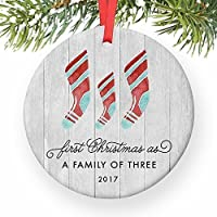 """First Christmas As A Family of Three Ornament 2017, Farmhouse Woodsy Newborn New Baby Parents Mom Dad Xmas Present Mommy Daddy Ceramic Porcelain Keepsake 3"""" Flat Circle with Red Ribbon & Free Gift Box"""
