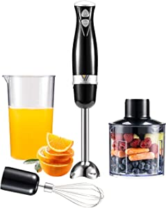 WOLF ARMOR 300 Watt 2-Speed Immersion Hand Blender, Emersion Blender, 3-In-1 Set Includes Detachable 304 Stainless Steel Stick Blender, Whisk, Chopper. For Puree Baby Food, Soup and Juices, BPA Free