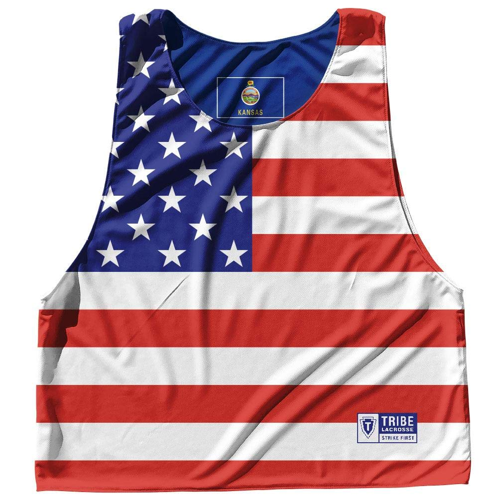 Kansas State Flag and American Flag Reversible Lacrosse Pinnie