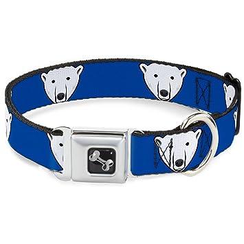 104f9c468 Buckle Down Seatbelt Buckle Dog Collar - Polar Bear w Mustache Royal - 1.5