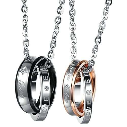 Onefeart Stainless Steel Pendant Necklace for Couple Round Zircon Double Ring Anniversary Pendant