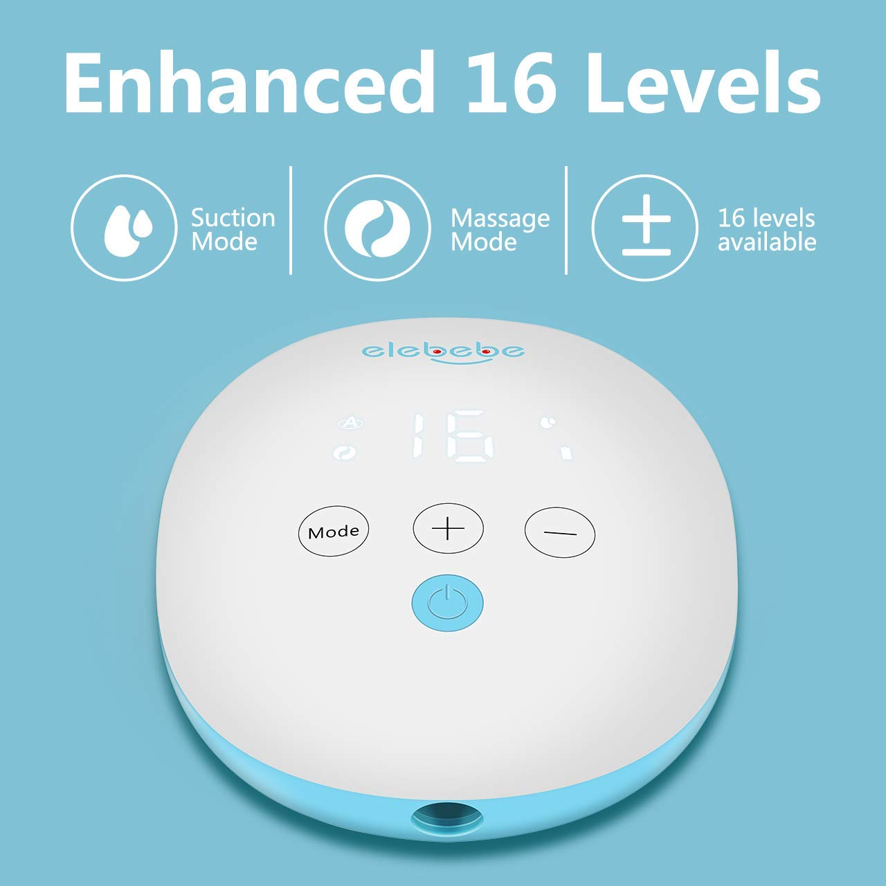 4 Modes /& 16 Levels Suction Hospital Grade Electric Breast Pump Quiet BPA-Free Easy to Clean Anti-Backflow Hand-Free Smart Breast Pump Pain-Free Feeding Pump USB Charging Portable Breast Pump