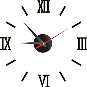 16 Inch Wall Clock 3D Frameless DIY Clocks Silent Non Ticking, Mirror Sticker Frameless Assemble Wall Decoration Clock Kit for Living Room Bedroom Office Home and Kitchen (Black)