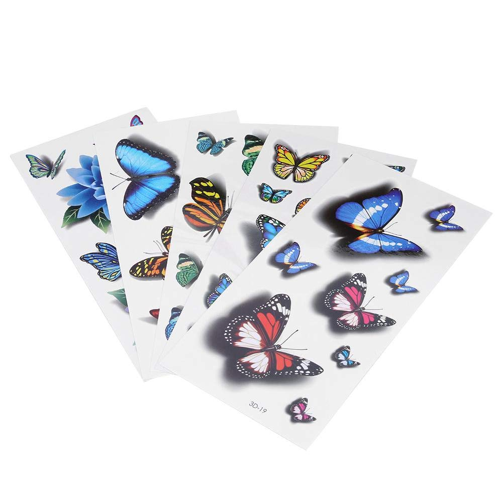 Butterfly Pattern Temporary Disposable Tattoo Stickers Women Tattoo Sticker Mixed 3D Colorful 5pcs Brino
