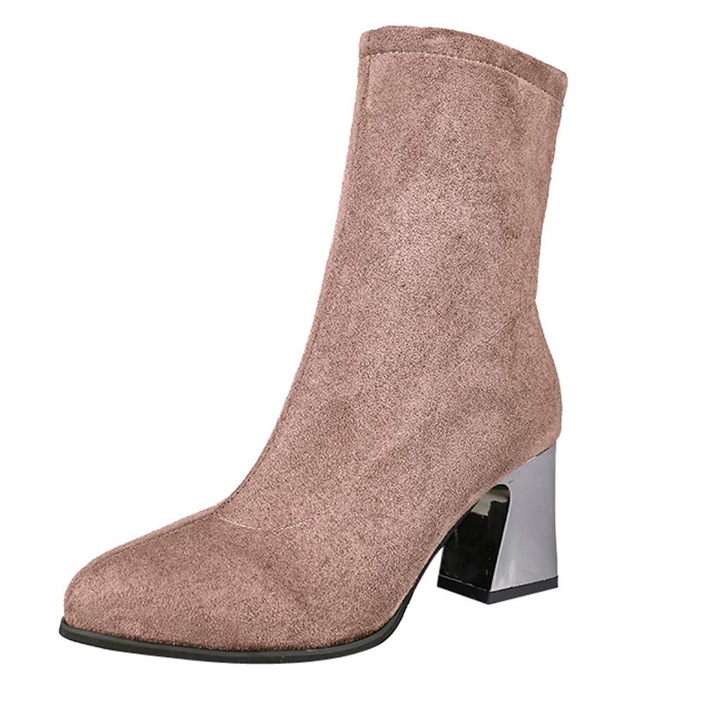 Clearance! Elegant Women High Heel Shoes Suede Solid Color Pointed Toe Zipper Martin Boots (Khaki, Tag Size 35=US:5.5)