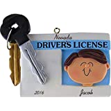 Driver's License Personalized Christmas Ornament Male Brunette