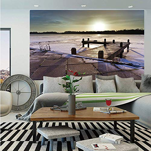 Finger Lakes Ice Wine - SoSung Winter Huge Photo Wall Mural,Sunrise Above a Jetty on a Frozen Winter Lake with Ice and Snow Netherlands Holland,Self-Adhesive Large Wallpaper for Home Decor 100x144 inches,