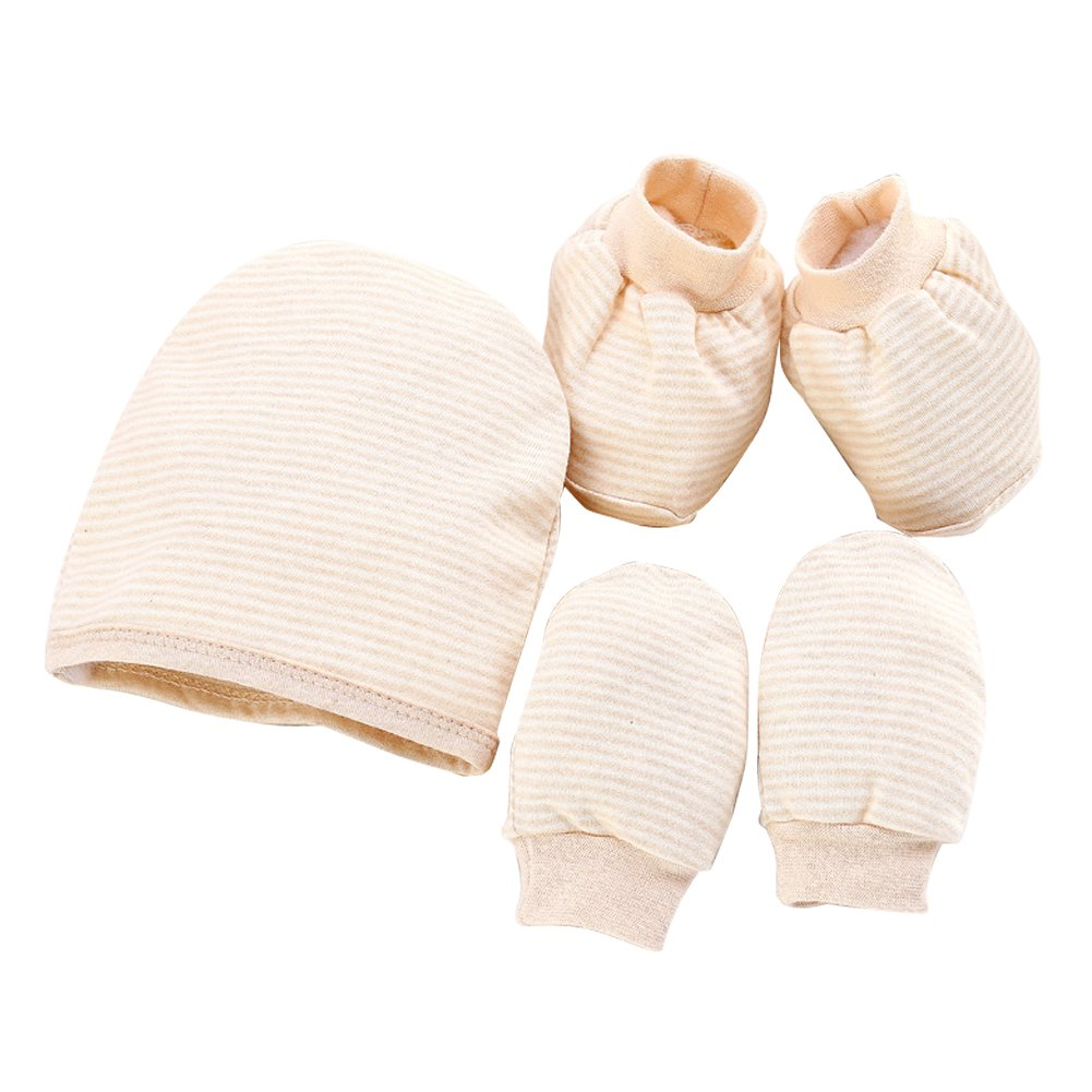 Fairy Baby Newborn Natural Cotton Striped Cap Mittens and Booties Set, 0-8 months