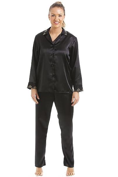 Camille - Conjunto de pijama largo satinado para mujer - Negro 38/40