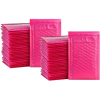 iMBAPrice 50-Pack #000 (4 x 8) Premium Hot Pink Color Self Seal Poly Bubble Mailers Padded Shipping Envelopes (Total 50 Bags)