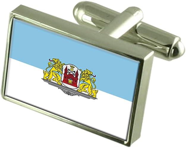 Riga City Latvia Sterling Silver Flag Cufflinks Engraved Box