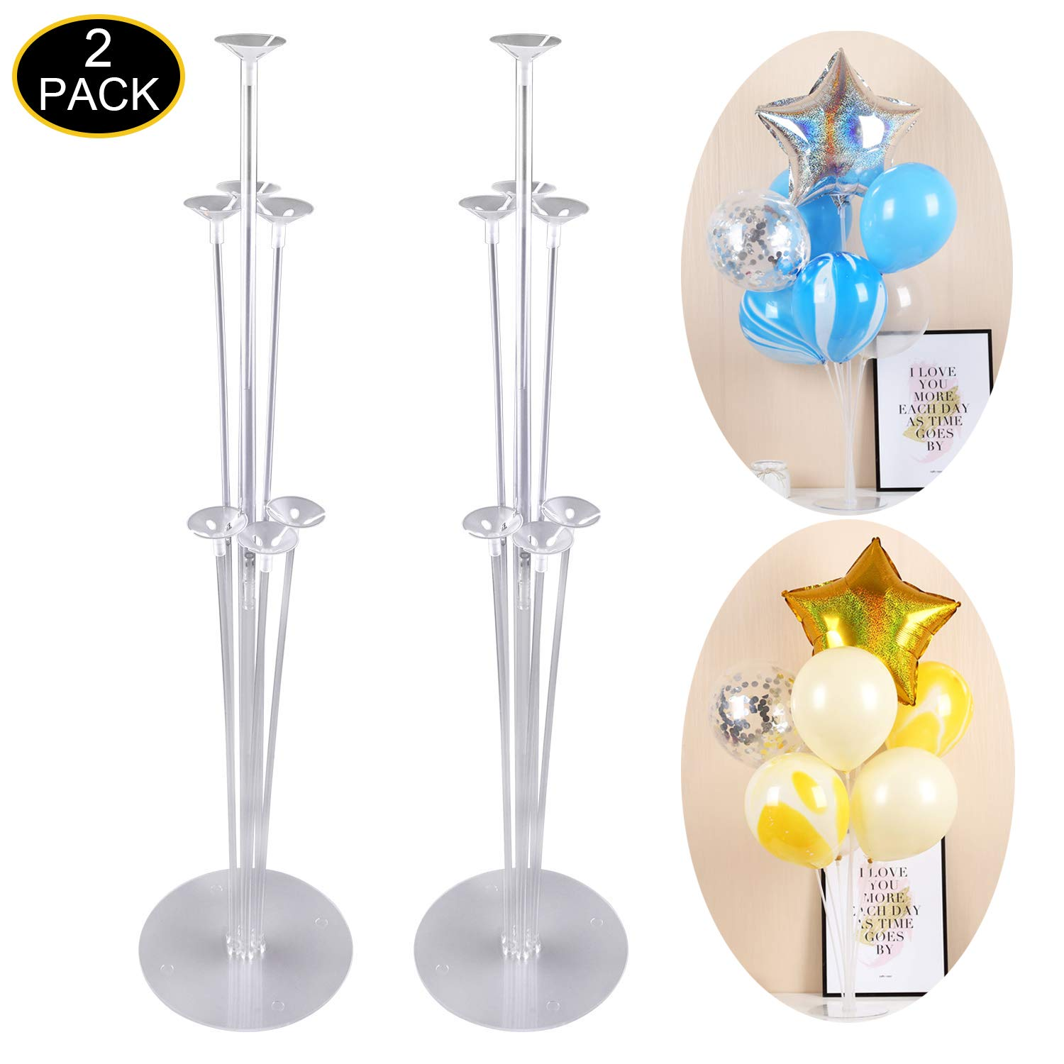 Balloon Stand Kit - Clear Table Balloon Stand with 14 Balloon Sticks,14 Balloon Cups and 2 Balloon Base for Brirthday Wedding Party Decorations(2 Set)