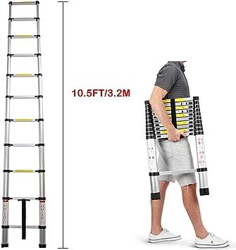 Escalera extensible de aluminio de 3,2 m, ultraligera, plegable, 11 escalones, para multifuncional, antideslizante, con certificado EN131: Amazon.es: Bricolaje y herramientas