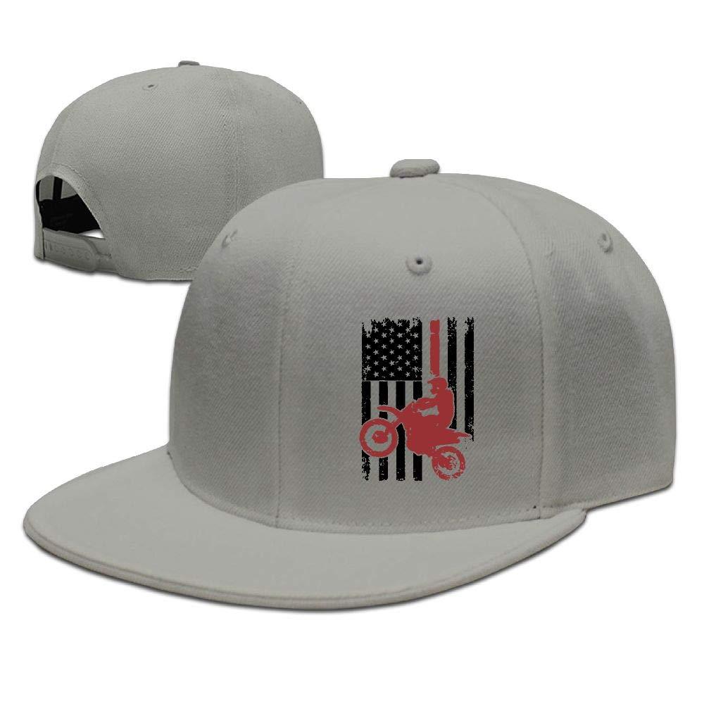 f477d59b7 Flat Brim Baseball Cap for Mens and Womens, USA Flag Dirtbike Motocross\r\n  Snapback Sports Cap