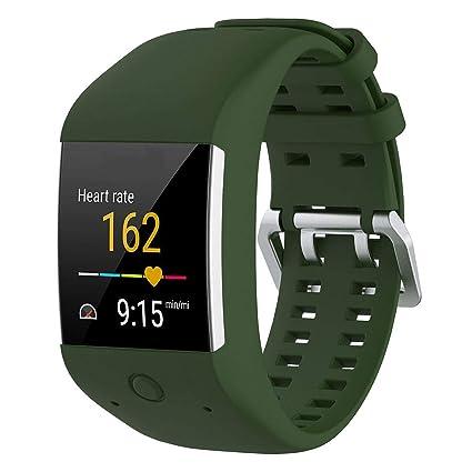 KOBWA - Correa de repuesto para relojes Polar M600, talla única, color Army Green