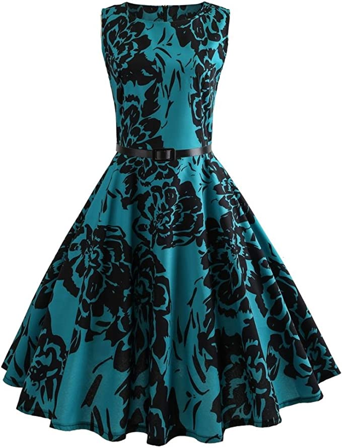 Damen Sommer Blumendruck Kleid Bodycon Abend Party Midi Bleistift Kleid