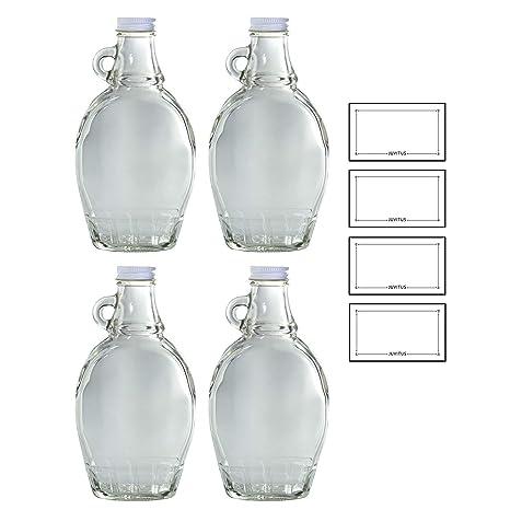 8 oz botella de cristal transparente con tapa hermética ...