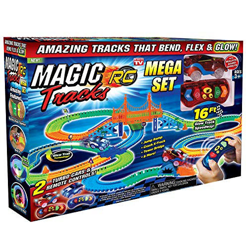 (Ontel Magic Tracks Mega RC with 2 Remote Control Turbo Race Cars and 16 ft of Flexible, Bendable Glow in the Dark Racetrack, As Seen on TV)