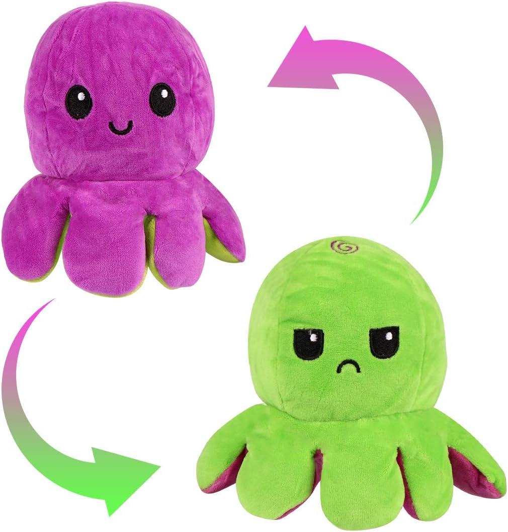 Zaloife Juguetes de Peluche de Pulpo, Octopus Peluche Reversible, Peluche Doble Cara, Reversibile Pulpo Peluche, Peluches para Niños, Regalos de Juguete para Familia Amigos