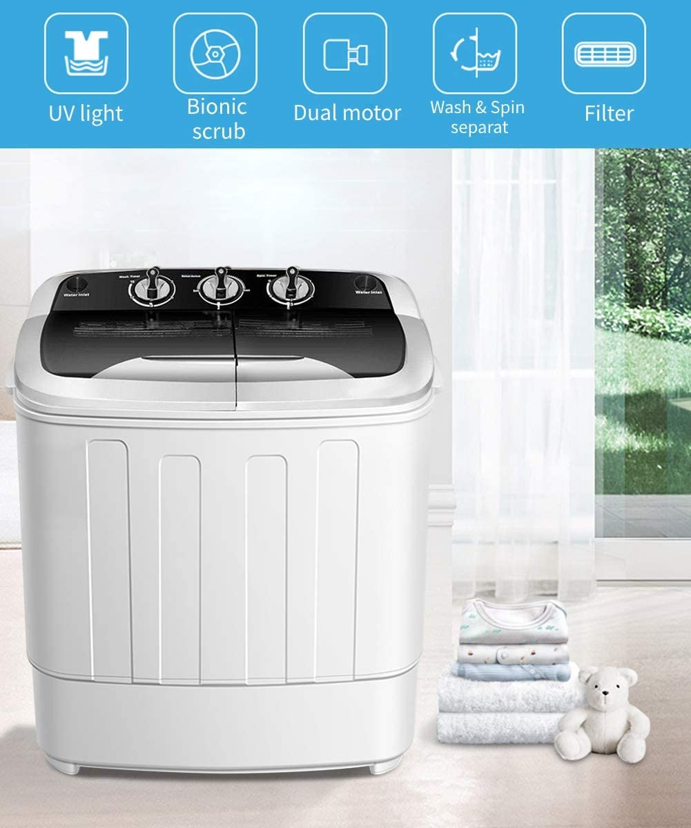 Safeplus Portable Washer and Dryer,Compact Mini Twin Tub Versatile Washing Machine with 8 lbs Washing /&5 lbs Spin Dryer Load Cappacity Gravity Drain Pump and Drain Hose for apartments motor homes