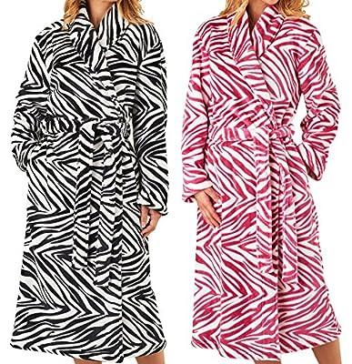 Womens Slenderella Zebra Print Dressing Gown Ladies Soft Fleece Shawl Collar Robe (Various Colours)