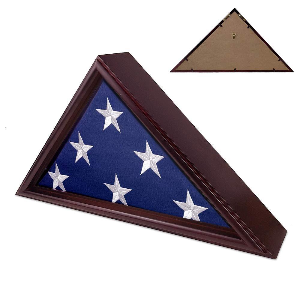Indeep Flag Display Case 5' x 9.5' Burial/Funeral/Veteran Flag Holder Box Frame Solid Wood