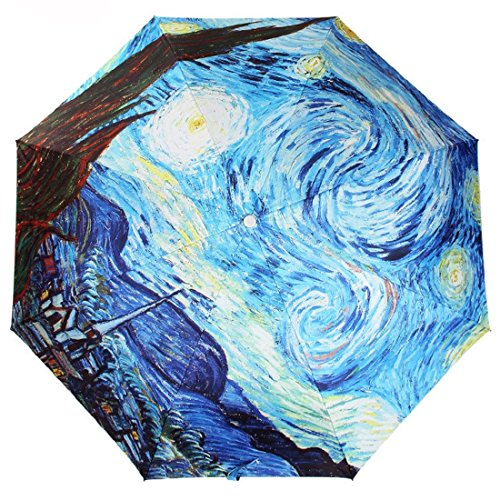 Price comparison product image Kung Fu Smith Compact Travel Umbrella,  UV Protection,  Van Gogh Painting Manual Open