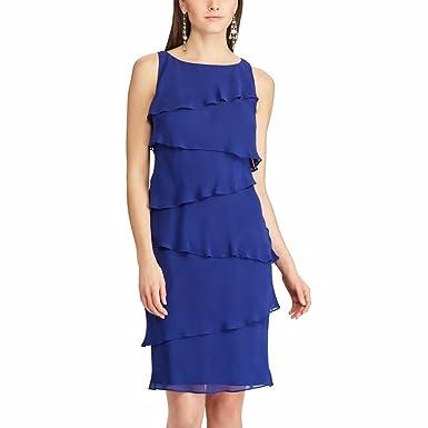 e5812e02cc0 Chaps Women s Petite Tiered Georgette Sheath Dress at Amazon Women s  Clothing store