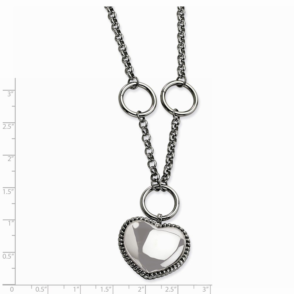 Stainless Steel Dangle Heart 18 1In Ext Necklace 37x27mm 18 Inches