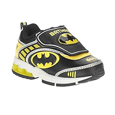 fd87abe427e9 DC Comic Batman Toddler Boys Velcro Athletic Shoe (7) Black Yellow